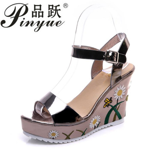 2b7f14081f2 women summer Embroidered platform shoes espadrille shoes flower applique  supper high heel wedge elegant sandals-in High Heels from Shoes on  Aliexpress.com ...