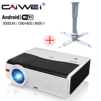CAIWEI A9A Digital LCD Projector Android Wireless Wifi LED Light HD 1080P Home Cinema Proyector Beamer with Mounted Bracket
