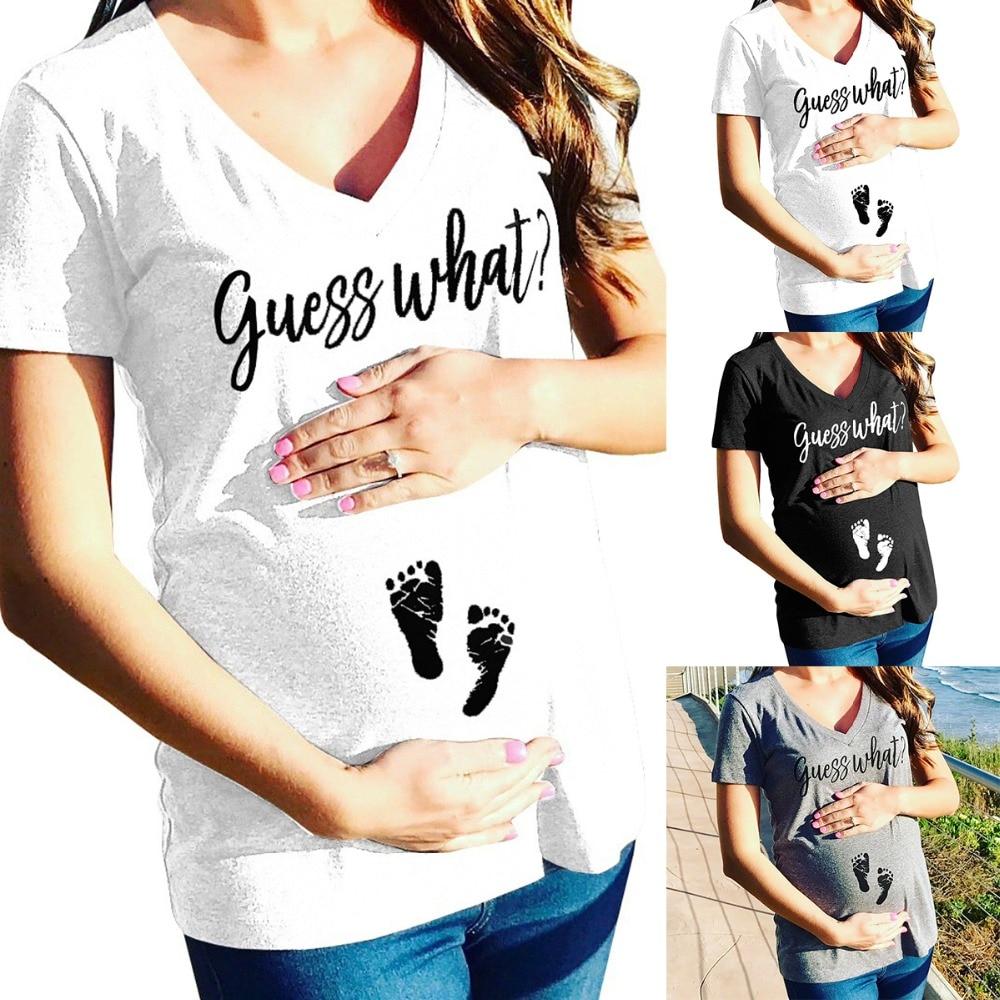 17fa18c47 Detalle Comentarios Preguntas sobre Puseky maternidad embarazada v cuello  camisetas Shorts Casual embarazo ropa carta mujeres embarazo ropa de  maternidad ...