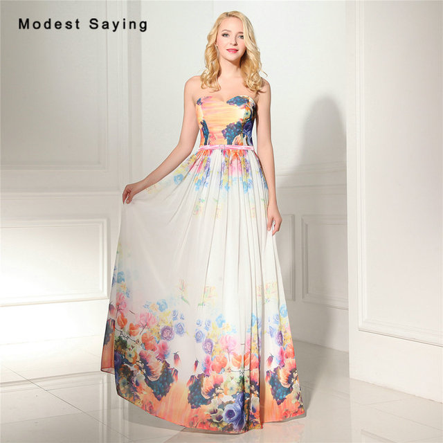 3fbfe30875 Sexy A-Line Sweetheart Pleat Floral Print Evening Dresses 2017 Summer Formal  Women Long Party Prom Gowns vestido de festa longo