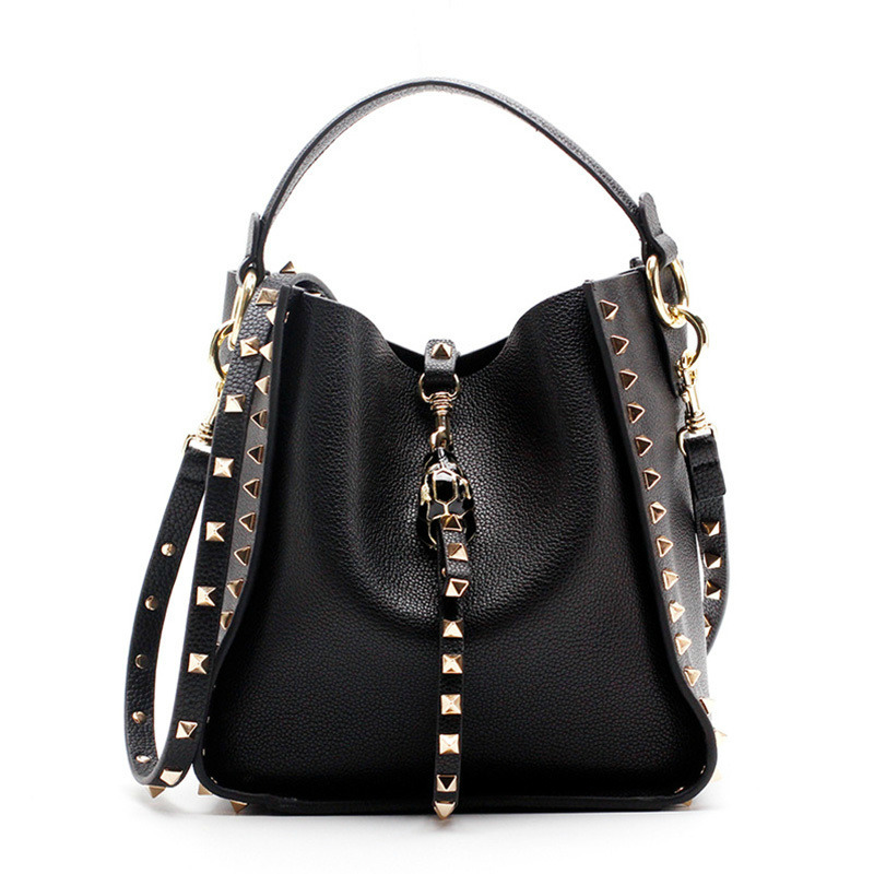 Kajie New Genuine Leather Rivet Women Messenger Shoulder Bag Luxury Crossbody Bags Handbags Women Bags Designer Famous Brand 2017 luxury handbags black women bags designer women s bag rivet chain messenger shoulder bags female skull clutch famous brand