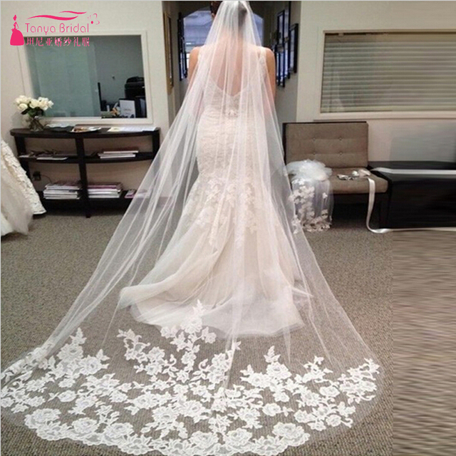 Lace Appliques Long Tulle wedding veil bridal veil velos de novia wedding veil birdcage Wedding acessorios veils with lace Z230