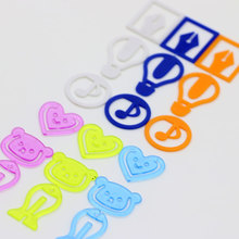 6 pack/Lot Kawaii color paper clip Total 144 pcs plastic bear fish heart music bookmarks Fresh Office school supplies FC482