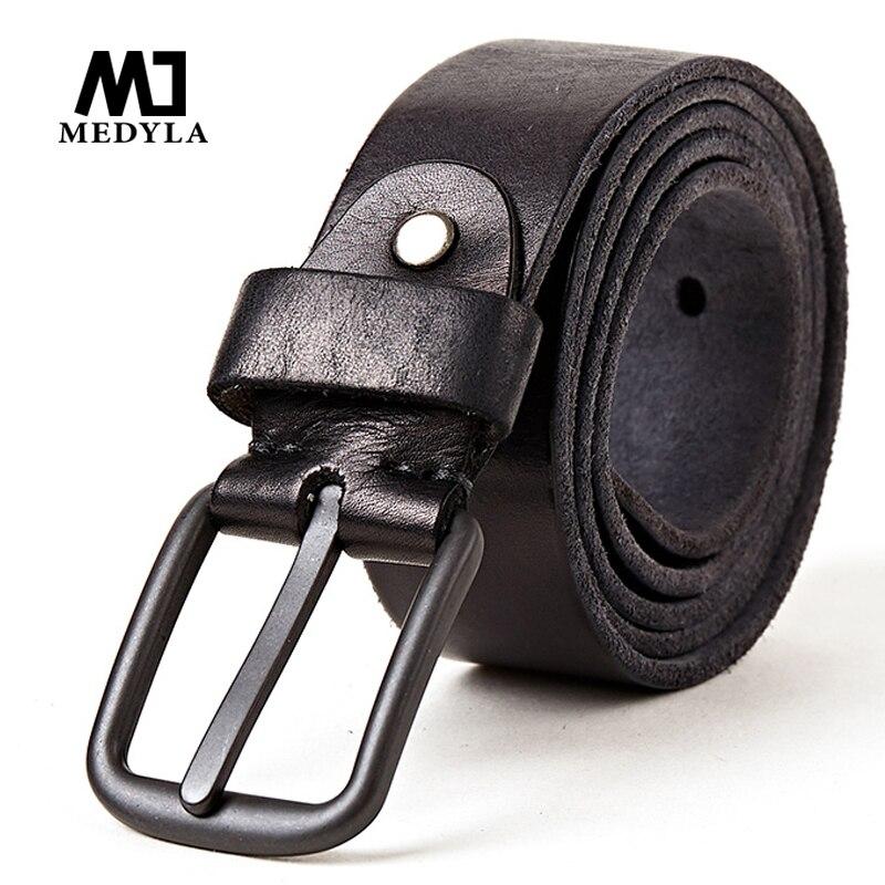 MEDYLA Newest 100 Full Grain Genuine Leather Belt for Men Vintage Casual Pin Buckle Belts Cowhide