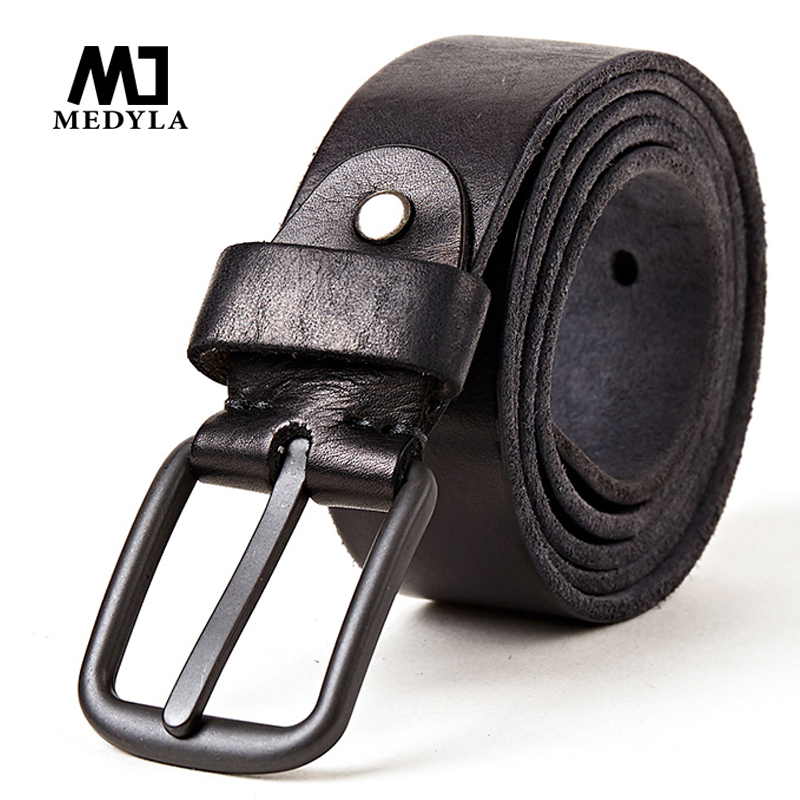 MEDYLA Newest 100% Full Grain Genuine Leather   Belt   for Men Vintage Casual Pin Buckle   Belts   Cowhide Original Strap Male Girdle