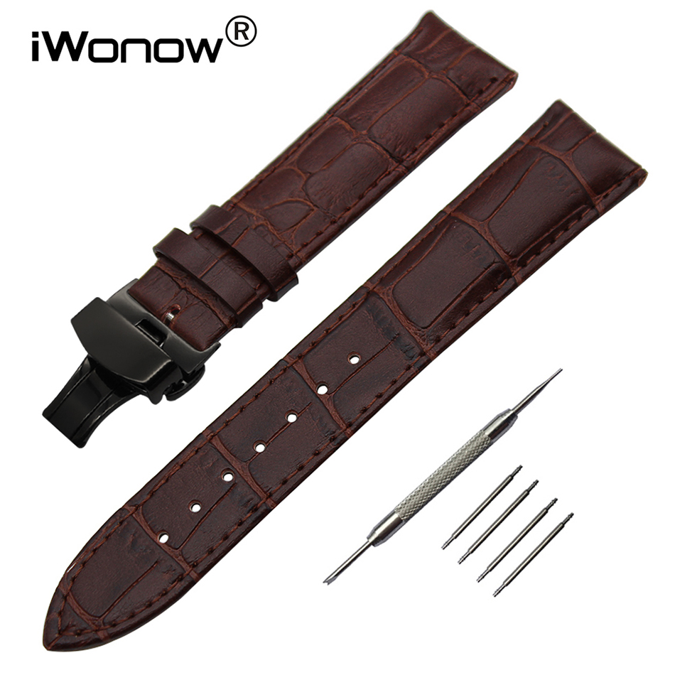 Real Genuine Leather Watchband 20mm 22mm 24mm 26mm for Panerai <font><b>PAM</b></font> Watch Band Solid Steel Butterfly Clasp Strap Wrist <font><b>Bracelet</b></font> image