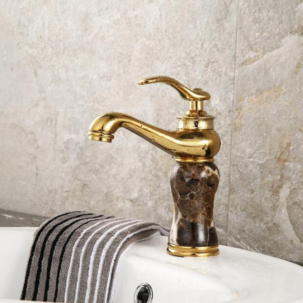 Basin Faucets Brass with Stone Bathroom Faucet Gold Mixer Tap Single Handle Hot & Cold Washbasin Tap torneiras banheiro AU275 xoxo antique brass finishing basin faucets single hand hot and cold washbasin mixer tap torneira banheiro 83003g