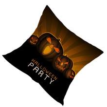 Printed Pillow Case Halloween Party Favor Linen Pumpkin Pillow Case Cushion Cover for Home Halloween Gift Coffee Sofa(China)