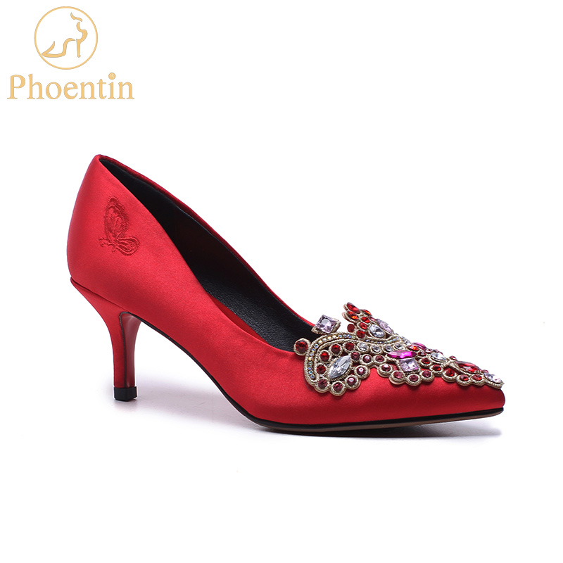 Phoentin china red wedding shoes crystal colorful 2018 thin high heels pointed toe women pumps elegant silk bridal shoes FT416 women pumps shoes pointed toe thin heels crystal shoes wedding shoes bridal shoes rhinestone handmade female high heeled