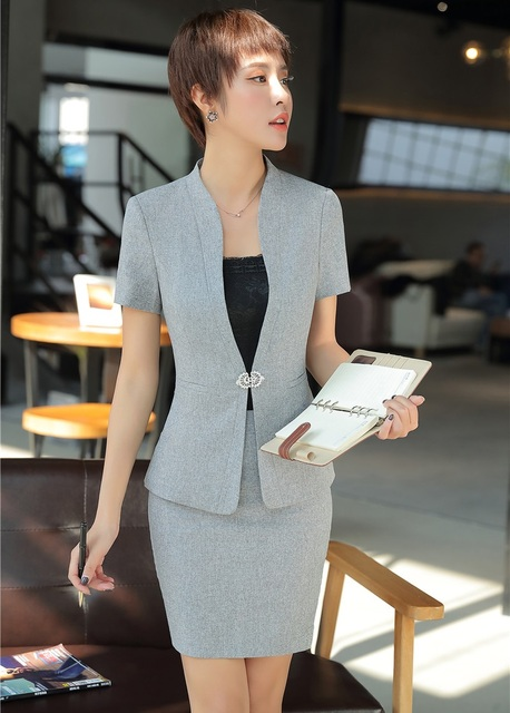d90633bdda93 Summer Grey Blazer Women Business Suits with Skirt and Jacket Sets Ladies  Work Wear Office Uniform Designs