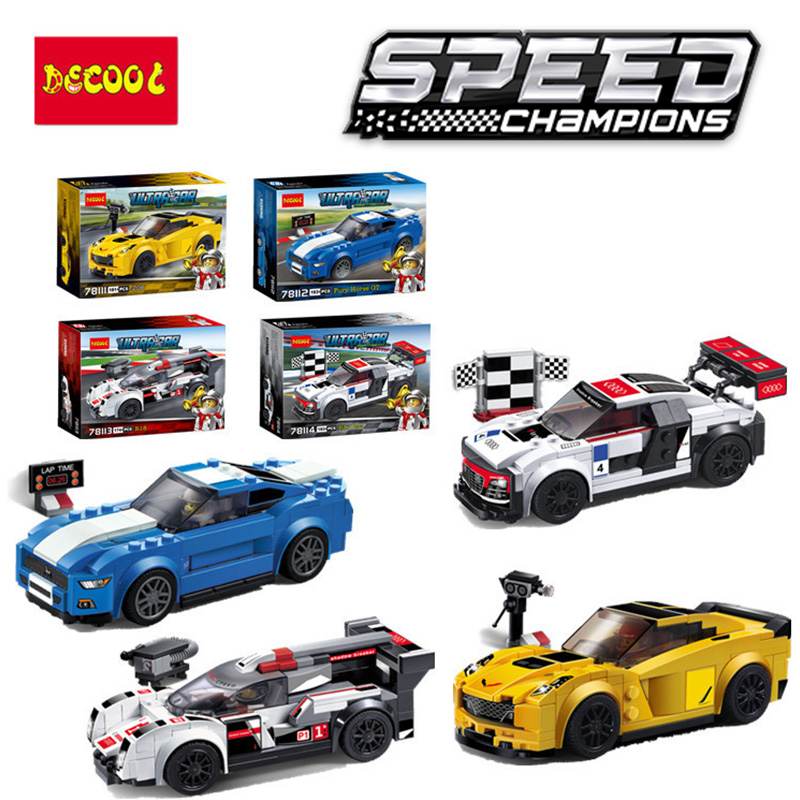 Speed champions Audi R8 Ford Mustang Raptor Corvette Camaro Porsches Compatible Legos Model Building car toy