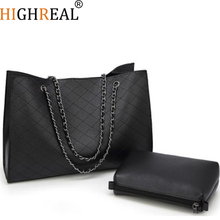 HIGHREAL Famous Designer Brand Women Leather Handbags Large Daimond Lattice Chain Quality Big Black Casual Tote Bag Winter Bolsa