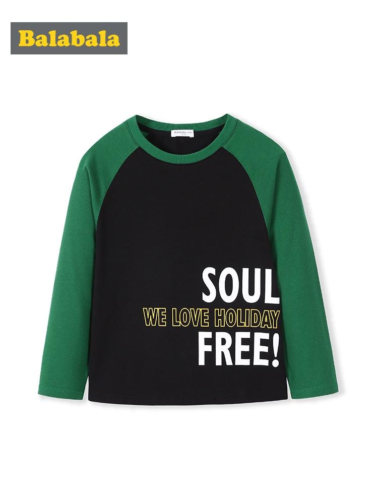 Balabala T-Shirt Letter Long-Sleeve Printing Autumn Boys Cotton New O-Neck