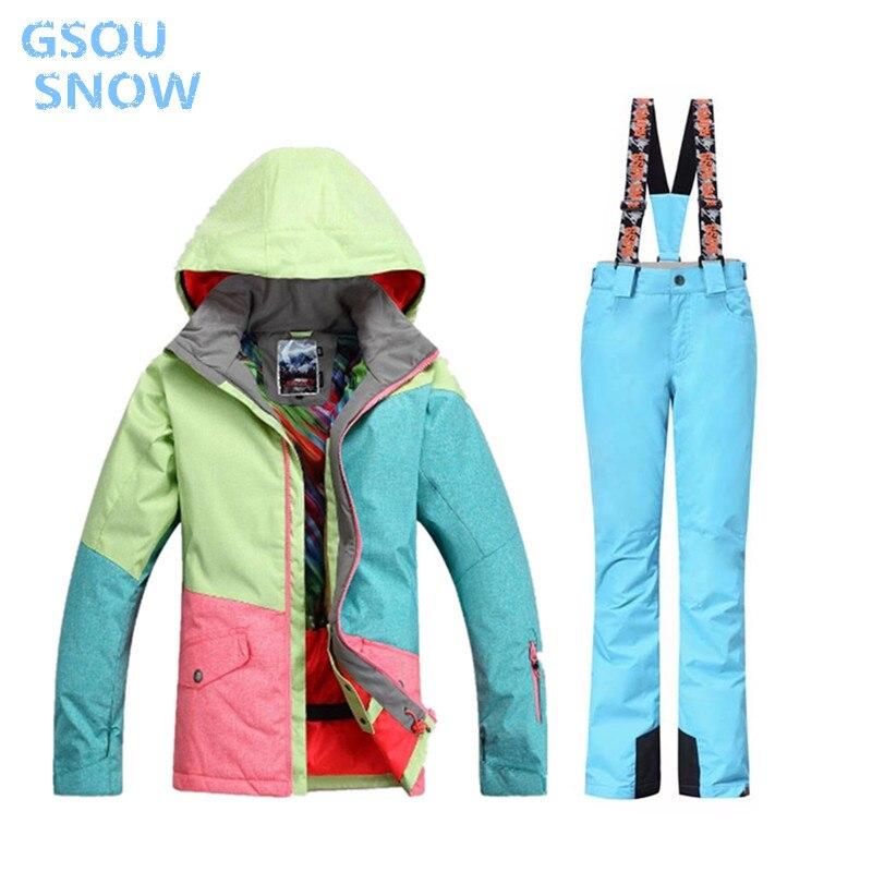 Hiver GSOU neige Ski costume femmes ensembles coupe-vent respirant imperméable femmes neige veste + pantalon chaud vêtements ensemble