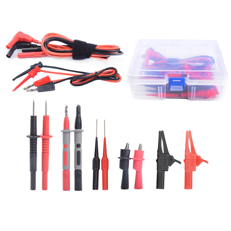4mm Silicone Cable 15 in 1 Super Multimeter Probe Test Lead Kit with Alligator Clips And Replaceable Test Hook power supply test lead cable kit 2 alligator clips 2 banana plugs 4 hook clips mayitr test lead hook cable 650mm for cell phones
