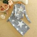 Nuevo mujeres punto Tops faldas Set otoño invierno estrellas de impresión de la señora que hace punto de la falda sistemas de diseño a estrenar mujer traje ropa