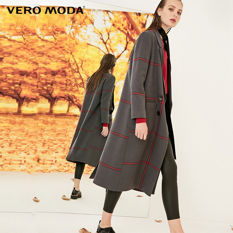 Vero Moda 2019 New Women's Plaid Double-breasted Cocoon Coat Long Winter Jacket | 318321501
