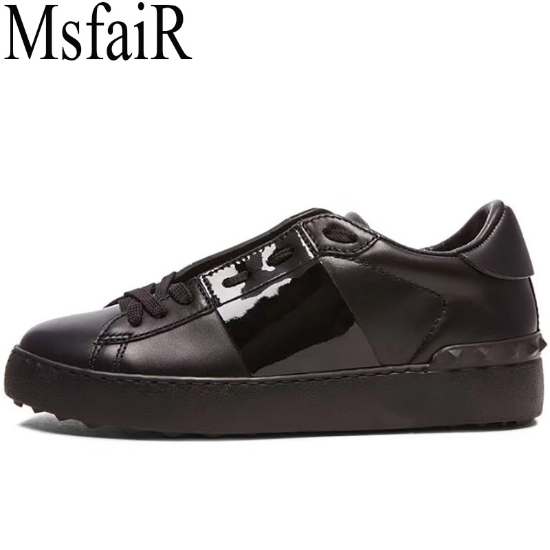 MSFAIR 2018 Women Men Skateboarding Shoes Flat With Cow Leather Shoes Woman Brand Sport Shoes For Man Walking Womens Sneakers cross training shoes walking arder shoes for women leather sport shoes soled sneakers allmatch students flat shoes fitness