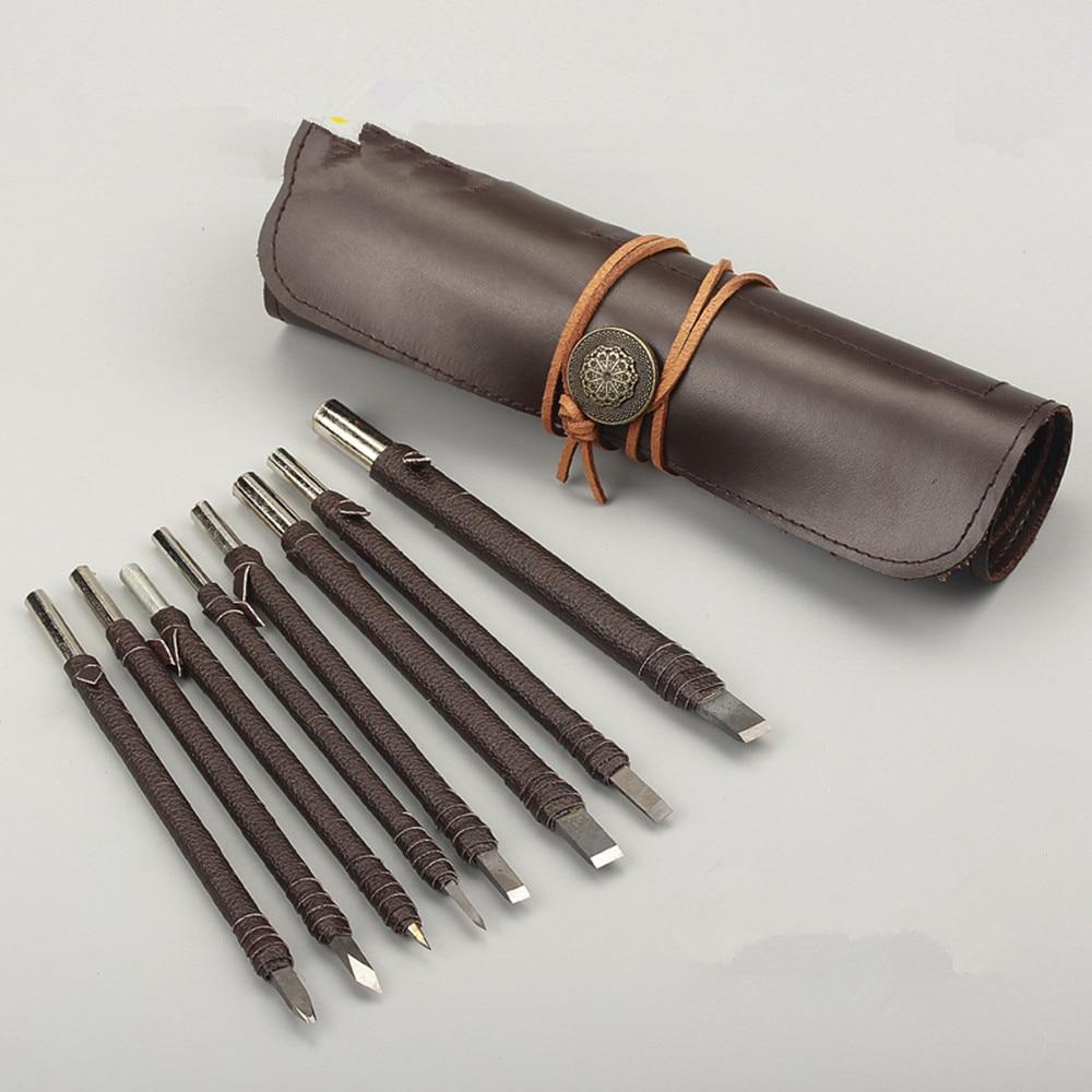 цена на 8 pcs seal carving knife Tool Kit chisel wood carving tools chisel handmade woodcut leather pack