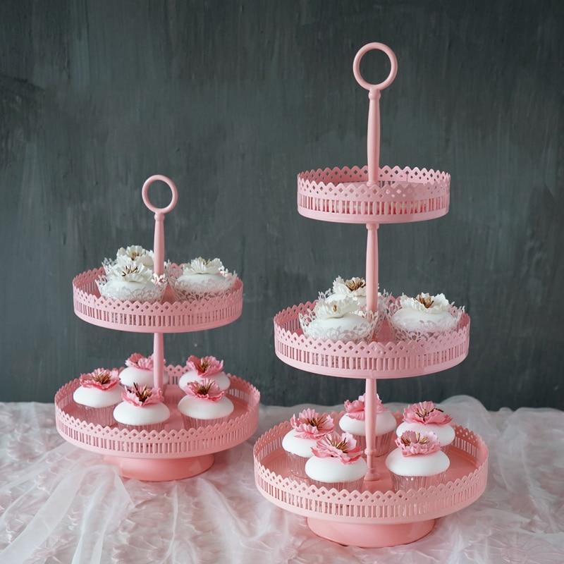 SWEETGO 3 Ebenen Cupcake Stand Rosa Eisen Metall Tortenständer - Küche, Essen und Bar