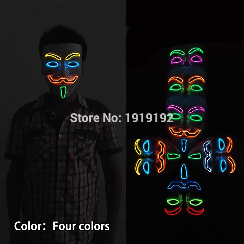 Vroče prodajne zabavne maske EL žica 4-barve Anonymous Guy Fawkes - Prazniki in zabave - Fotografija 2