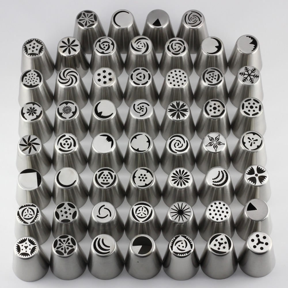 Mujiang 55 Pcs / Set Stainless Steel Russian Tulip Icing Piping Nozzles Pastry Tips Cake Decorating Tools for the Kitchen Baking