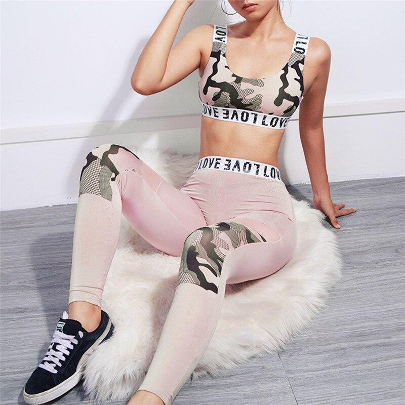 Survêtement femmes 2 pièces rose Yoga ensemble imprimer femmes soutien-gorge + Long Yoga pantalon Sport costume pour femmes Fitness Sport costume femmes Sportswear