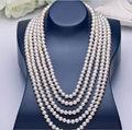 Classic AAA 8-9mm ronda natural mar del sur real blanco perla collar de 100 pulgadas 14 k un (5.18)