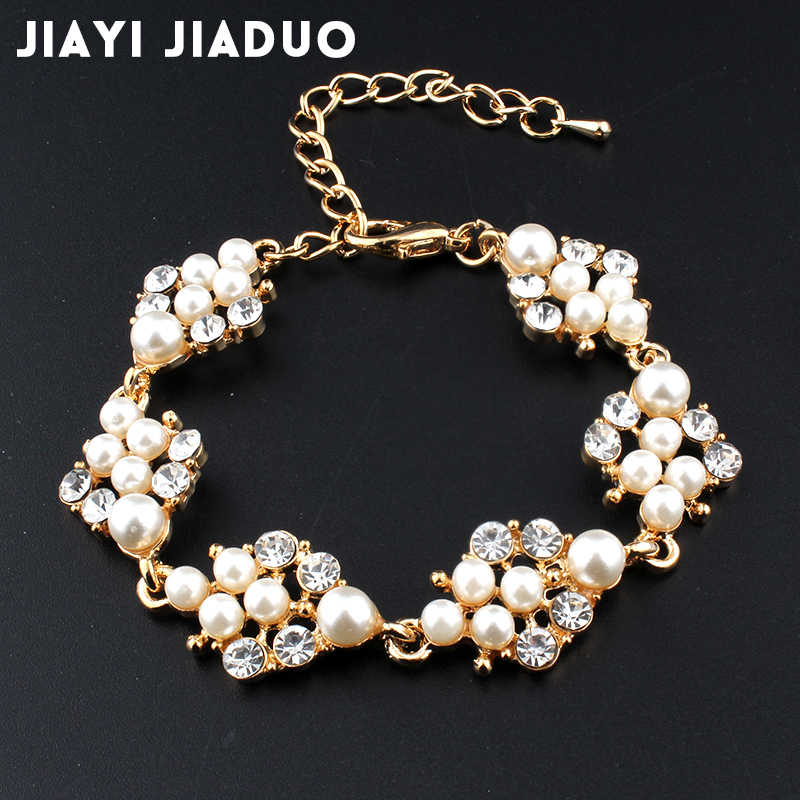 jiayijiaduo Simulation pearl bracelet ladies gold color link chain crystal bridal wedding jewelry bracelet and bracelet 808