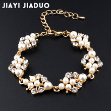 jiayijiaduo Simulation pearl bracelet ladies gold color link chain crystal bridal wedding jewelry bracelet and bracelet 808(China)