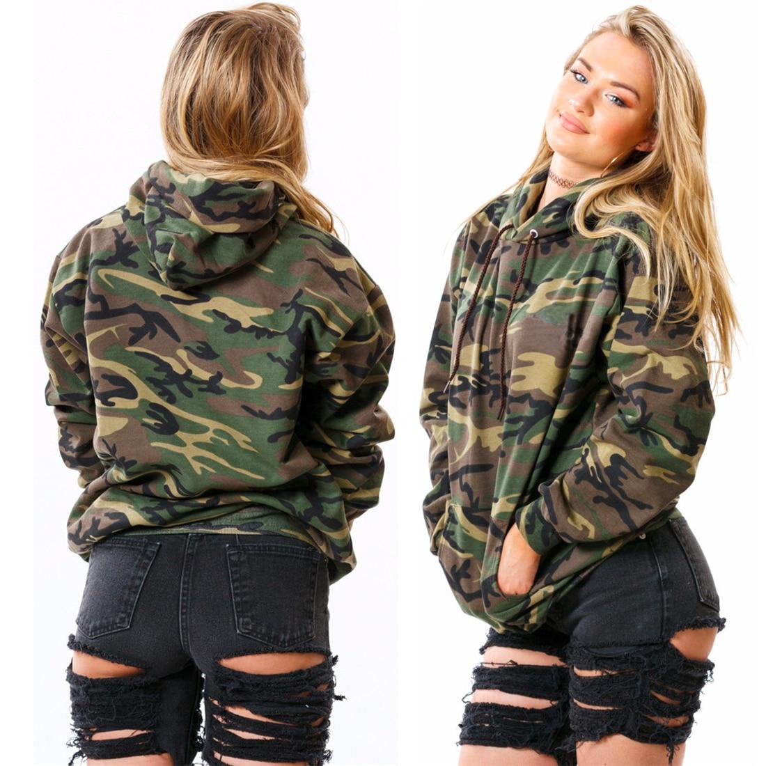 New hoodie Sweatshirt Women Long Sleeve Tops Hoodies Army Green Camouflage  Tops Jumpers Pullovers Women Fashion-in Hoodies   Sweatshirts from Women s  ... 65bdb12375