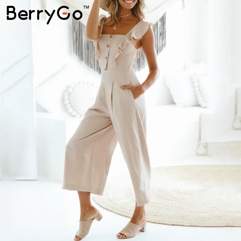 68cd9b7bb90 BerryGo Ruffle strap wide leg jumpsuit women High waist oversized casual  jumpsuit Autumn winter street jumpsuit plus size 2018-in Jumpsuits from  Women s ...