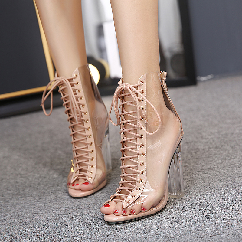 2017 Summer Fashion Sexy Gladiators Transparent Thick Heel Crystal High Heels Peep-Toe Women Sandals Woman Party Wedding Shoes