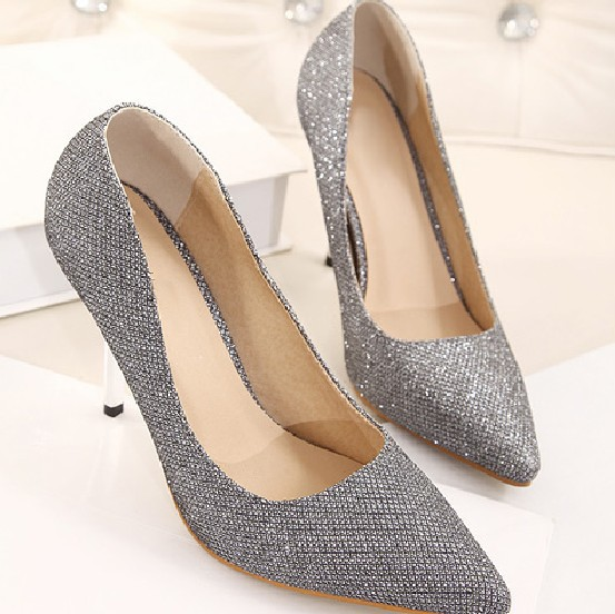 297d2e6d34f 2014 Women Pumps sexy Silver grey heels 9cm wedges high heels for wedding-in  Women s Pumps from Shoes on Aliexpress.com