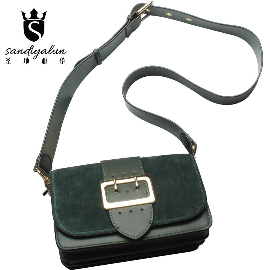 ФОТО Genuine Leather Women Shoulder Bag Belt Decoration Scrub Messenger Shoulder Bag Ladies Casual Crossbody Handbags Bolsas