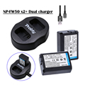 Novo dual usb charger + 2x baterias np fw50 np-fw50 para sony nex-5 NEX-7 SLT-A55 A33 A55 A37 A5000 A5100 A6000 A3000 A7000 A6300