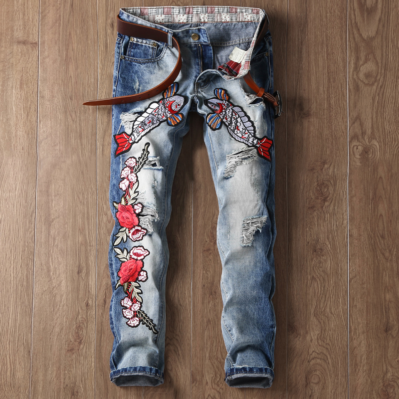 2017highquality mens ripped biker jeans 100 European and American Biker Mens Jeans Fish Flower Embroidery Jeans Men Blue Washed Ripped Patchwork Slim Fit Cotton Denim Pants