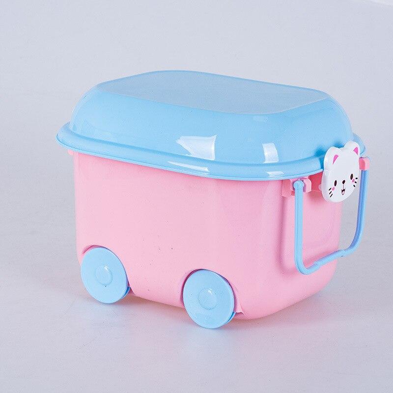 Children's toy storage box plastic 8L cartoon storage box pulley children's toys clothing daily necessities storage box