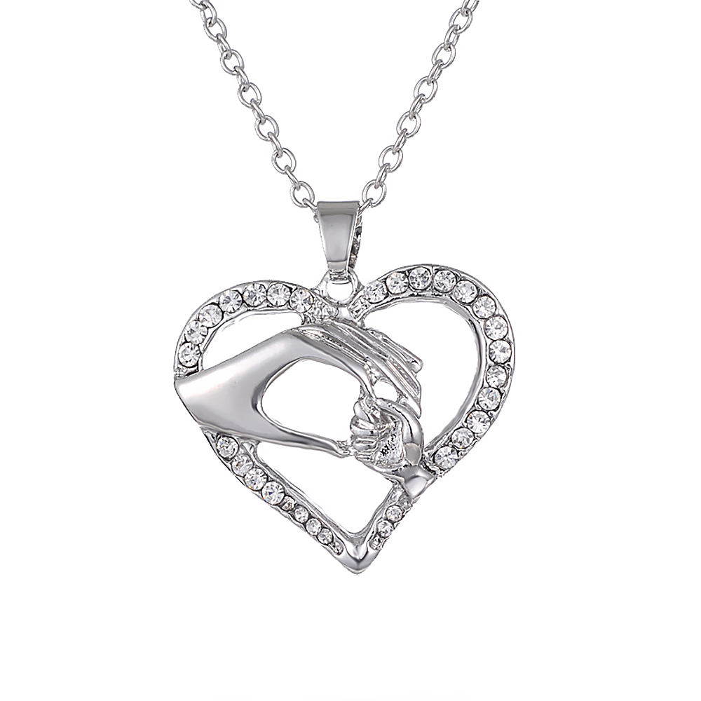 Personalized Hollow Heart Shaped Hand in Hand Rhinestone Metal Pendant Necklace Fit for Mother's Day mom exquisite Gift Jewelry rhinestone metal heart bar layered pendant necklace