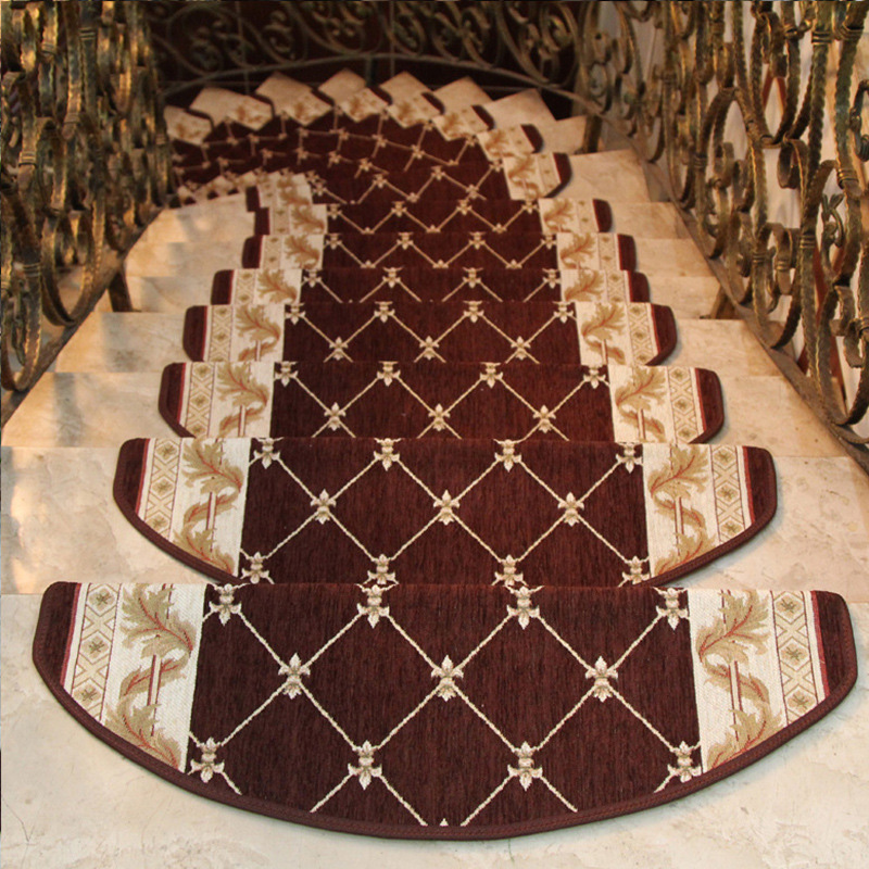 Non-toxic Classic Design Stair Carpet European Style Mat Floral Non-Skid Step Carpet