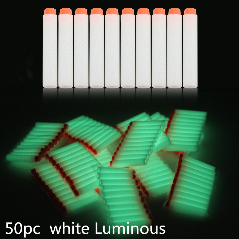 50pcs 7.2cm White Luminous Soft Bullet Refill Whistler Dart Sniper With Hole Mega Centurion Refill Foam Bullet For Nerf Gun Toys