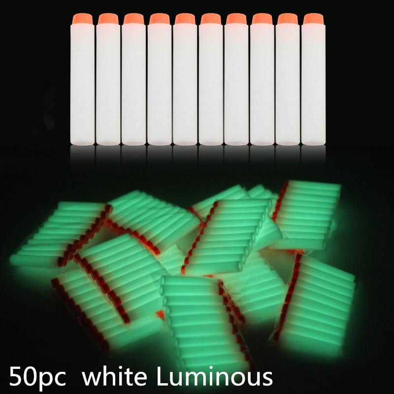 50Pcs 7.2cm White Luminous Soft Bullet Refill Whistler Dart Sniper With Hole Mega Centurion Refill Foam Bullet For Nerf Gun Toys