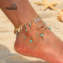 Hesiod Multialyer Beads Pendant Gold Leaf Anklet Foot Chain for Woman Summer  Bracelet Charm 2 Style Anklets Foot Jewelry Gift ec1371ef23e5