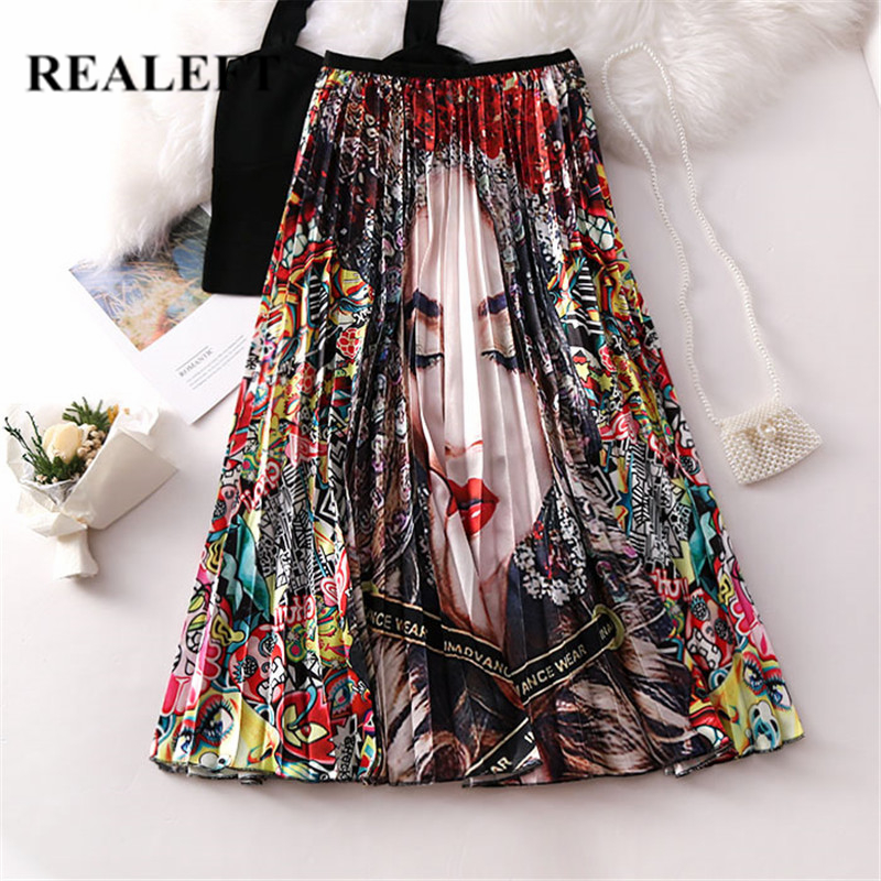 REALEFT 2019 New Arrival Women Cartoon Printed Elegant Pleated Long Skirts High Waist Harajuku Tulle A-Line Mid-Calf Skirts