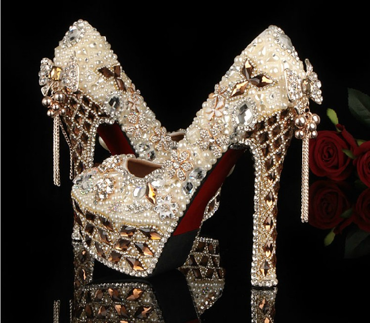 Luxury High Heels Rhinestone Crystal Wedding Bridal Dress Shoe Jeweled Beaded Women Evening Prom Party Shoes Bridal  Dress Shoes free shipping sparkly silver crystal and rhinestone high heels with spikes ultra high heels shoes for wedding party prom