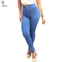 Skinny Jeans lavados Mulheres Alta Wasit Magros Do Vintage Denim Calças Lápis Push Up Plus Size Botão Sexy Girl Calças Femininas Calças de Gordura 40 #