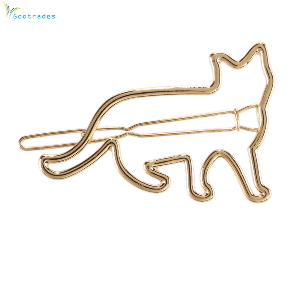 Gootrades 1 PC Lovely Cat Hair Clip Cute Animal Hollow Cat Hairclip Hair Pin Silver And Gold