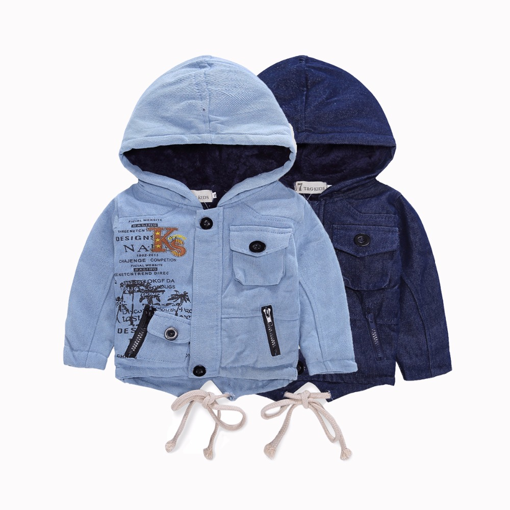 Fashion <font><b>Denim</b></font> baby <font><b>Boys</b></font> Children hooded outerwear coat with soft nap kids jackets for <font><b>Boy</b></font> jacket Autumn Winter children clothing