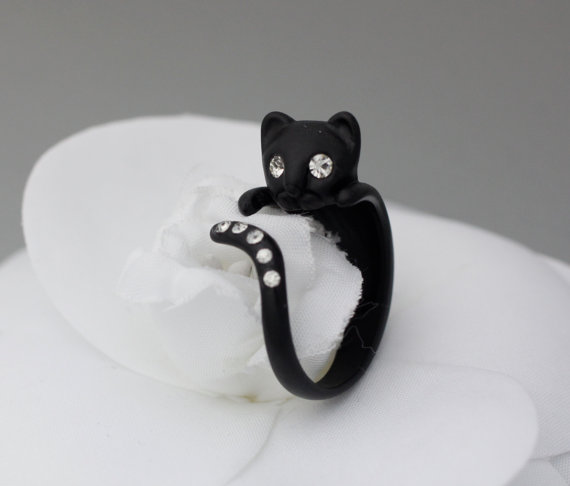 Adjustable Kitty Cat Animal Rings Cat Ring Womens Girls Retro Cat Ring with Cubic Settin ...