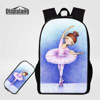 Backpack Pencil Bags Set Cartoon Yoga Ballet Printed School Bag For Girls Big 16 Inch Anime Daily Bagpack Women Fashion Rucksack